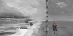 couple, walk, couple taking walk on beach, beach, romance, romantic walk, seascape,black and white