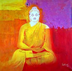 buddha, abstract buddha, meditating buddha, buddha with orange background, gautam