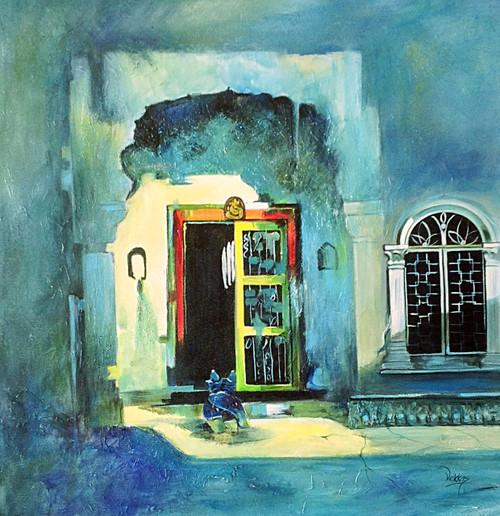 abstract, window, door, green, green window