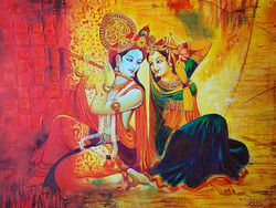 radha krishna, lord krishna, krishna, krishna playing flute, radha with krishna playing flute