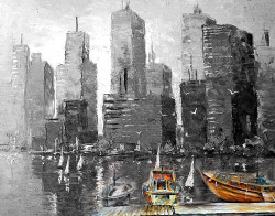 city, sea, harbour, boats, boats on the harbour, buildings, boats near building,black and white
