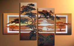 Tree Furnish 2 - 56in x 35in (Details Inside),RTCSB_05_5635,(14in x 31in x 2pcs) + (14in x 20in x 2pcs),Oil Colors,Canvas,Floral,Sunset,Tree,Community Artists Group,multipiece,Museum Quality - 100% Handpainted