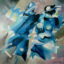 Abstract,Figures,Blue Art,Blue Strokes,Two Figures,Blue Pattern