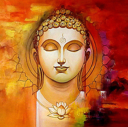 Buddha Abstract With Flower Painting Lotus