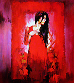 lady, lady in red dress, woman, girl, woman in red painting, girl in red dress, standing lady, red