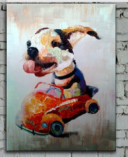dog, car, dog on car,dog riding car, dog painting, painting of dog riding car