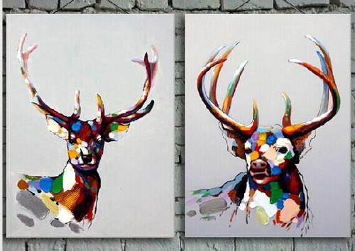 wild animal, multi piece deera, multi piece animal painting