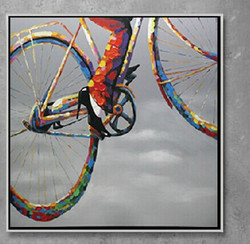 abstract, cycle, lady on cycle, girl on cycle, painting of cycle
