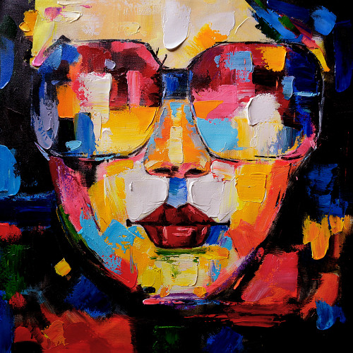Lady,Women,Rocking, Multi Color Face,Colorful Life