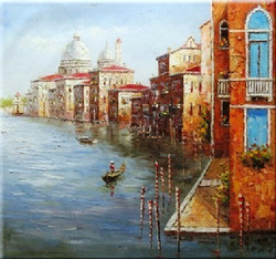 Venice 4 - 32in x 36in,RTCSB_19_3236,32in  x 36in,landscape,scenery,Nature, Ship,Blueish Water,vience,potrait,Oil Colors,Canvas,Community Artists Group,Museum Quality - 100% Handpainted