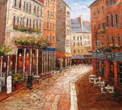 Venice 6 - 36in x 32in,RTCSB_21_3632,36in  x 32in,landscape,scenary,Nature, Ship,Blueish Water,vience,potrait,Oil Colors,Canvas,Community Artists Group,Museum Quality - 100% Handpainted