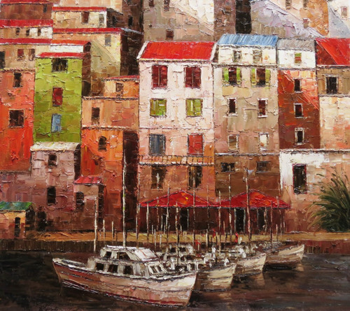 Venice 8 - 32in x 36in,RTCSB_23_3236,32in  x 36in,Blue sky,landscape,scenary,Nature, Ship,Blueish Water,vience,potrait,Oil Colors,Canvas,Community Artists Group,Museum Quality - 100% Handpainted