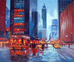 city, cityscape, city at night, colorful city, city painting, people, road, bars, shops, rain, rainy city, cars
