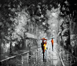 couple, couple taking walk, rain, rainy painting, landscape, cityscape, romantic,walk in the rain