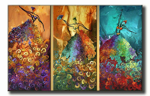 Allure - 48in X 32in (16in X 32in X each X 3Pcs.),RTCSB_44_4832,Oil Colors,Museum Quality - 100% Handpainted,Multipiece Paintings - Buy Painting Online in India.