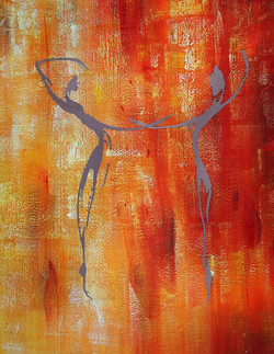 abstract, abstract painting, couple, abstract couple painting, orange