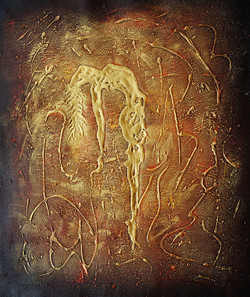 abstract, texture, metallic, metallic textured painting, golden painting, lady, woman, firgurative, golden figurative painting