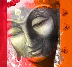 Buddha,Grey Buddha,Meditation,Red,Pink Background