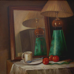 Reflection,Mirror Image,table Lamp,fruits,Coffee Cup