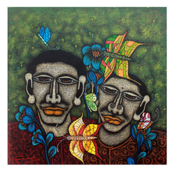 Butterfly with Couple - Handpainted Art Painting - 24in X 24in