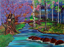 landscape, river, river with trees, tree, trees, forest, scenary