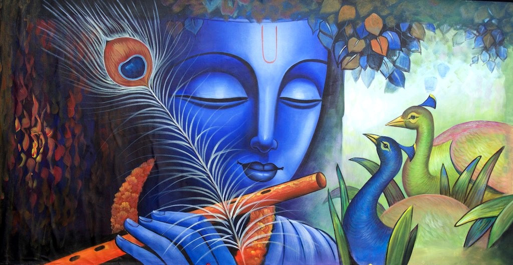 Buy Krishna With Peacock By Community Artists Group Rs