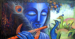Krishna,Green Krishna,Peacock Feather,Krishna with Flute,Blue Krishna,Krishna with peacock pair
