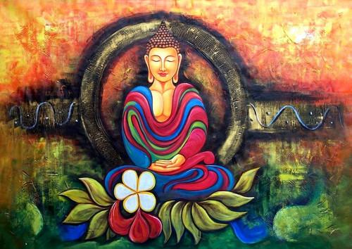 Abstract Buddha Gautam Lord Meditating Buddhasmiling