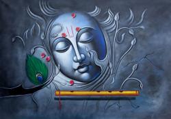 Krishna, lord krishna,krishna with flute, abstract  krishna