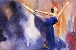 ballet dance ,Red Background,Blue Dress Dancer,Pose,Move