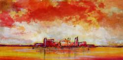 Red,Orange Shades.City At beach,Abstrcat City