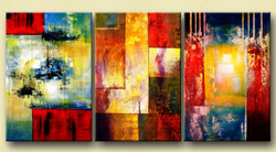 Hues of Strength - 72in X 32in (24in x 32in each x 3pcs),31GRP120_7232,Community Artists Group,Beautiful Canvas,Oil Colors,Abstract,Color shades,shades,Multipiece,Museum Quality - 100% Handpainted