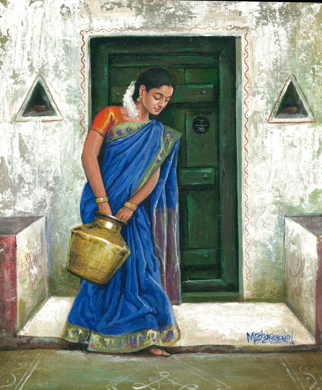 Buy indian village girl by sharavanan perumal rs 7790 for Buy mural paintings