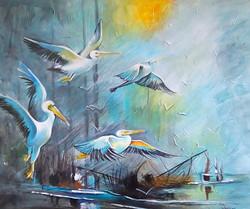 bird, birds swan, white birds, birds near sea, birds near beach, group of birds, flock of birds