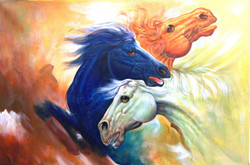 The Race - 36in X 24in,RAJMER01_3624,Acrylic Colors,Horse painting,Race of horses,Three horses - Buy Paintings online in India
