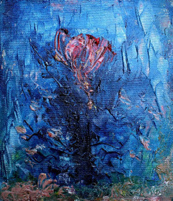 Abstract Art,Blue,Violet Color Shades,Red Rose