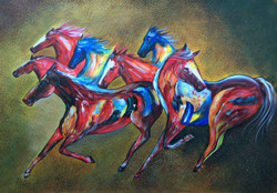 Puissance - 36in X 24in,RAJMER04_3624,Acrylic Colors,Horse painting,Race of horses,Three horses - Buy Paintings online in India
