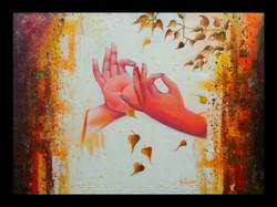 buddha, gautam buddha, hands of buddha, abstract buddha, buddha with leaves, leaves and buddha