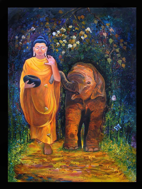 Buy Buddha With Baby Elephant By Anand Lad Rs 294090