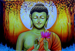 Buddha's Blessings  - 36in X 24in,RAJMER16_3624,Acrylic Colors,Buddha,Peace,Meditation - Buy Paintings online in India