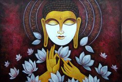 Buddha in Meditation04 - 36in X 24in,RAJMER20_3624,Acrylic Colors,Buddha,Peace,Meditation - Buy Paintings online in India