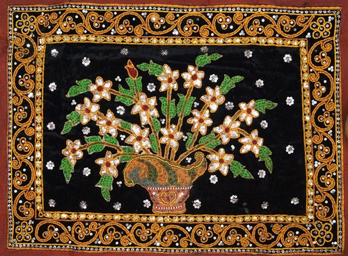 Kalagas Art 05 - 22in x 16in,FIZKAL05_2216,Flower Pot,Folk Work,Flower design,Embroidered tapestries style,Hand Embroidery with Beads, Threads and Artificial Stones,Community Artist Group