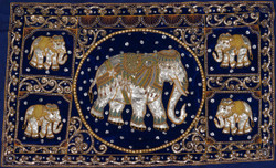 Kalagas Art 06 - 50in x 31in,FIZKAL06_5031,Elephant Design,Embroidered tapestries style,Hand Embroidery with Beads, Threads and Artificial Stones,Community Artist Group