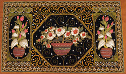 Kalagas Art 07 - 50in x 31in,FIZKAL07_5031,Flower Pots,Flower Design,Embroidered tapestries style,Hand Embroidery with Beads, Threads and Artificial Stones,Community Artist Group