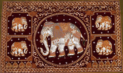 Kalagas Art 08 - 50in x 31in,FIZKAL08_5031,Elephant Design,Embroidered tapestries style,Hand Embroidery with Beads, Threads and Artificial Stones,Community Artist Group