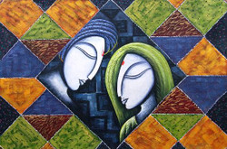 Romance12 - 36in X 24in,RAJMER25_3624,Acrylic Colors,Love,Couple - Buy Paintings online in India