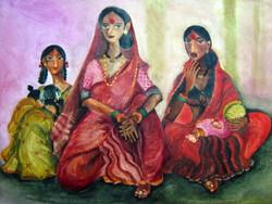 The Gossip - Handpainted Art Painting - 34in X 24in
