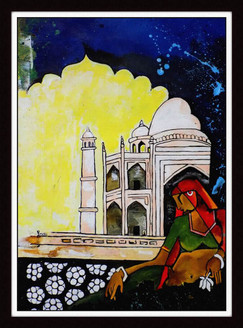 Rajasthani lady and taj,Beautiful tajmahal
