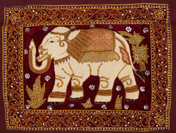 Kalagas Art 11 - 21in x 16in,FIZKAL11_2116,Big Elephnat,Elephant Design,Embroidered tapestries style,Hand Embroidery with Beads, Threads and Artificial Stones,Community Artist Group