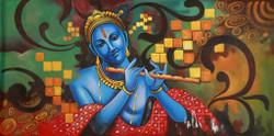 Religious,Krishna,Blue Krishna,Krishna with Flute